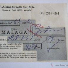 Coleccionismo Billetes de transporte: BILLETE - T. ALSINA GRAELLS SUR S.A. - MALAGA GRANADA - 1963. Lote 52912182