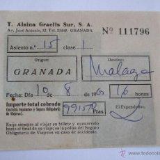 Coleccionismo Billetes de transporte: BILLETE - T. ALSINA GRAELLS SUR S.A. - GRANADA MALAGA - 1963. Lote 52912222
