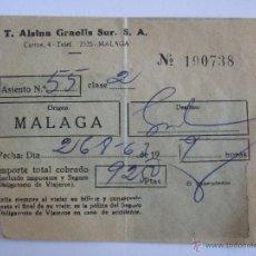 Coleccionismo Billetes de transporte: BILLETE - T. ALSINA GRAELLS SUR S.A. - MALAGA GRANADA - 1963. Lote 52912231