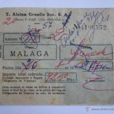 Coleccionismo Billetes de transporte: BILLETE - T. ALSINA GRAELLS SUR S.A. - MALAGA GRANADA - 1963. Lote 52912240