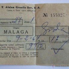 Coleccionismo Billetes de transporte: BILLETE - T. ALSINA GRAELLS SUR S.A. - MALAGA GRANADA - 1964. Lote 52912255