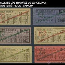 Coleccionismo Billetes de transporte: SEIS BILLETES LOS TRANVÍAS DE BARCELONA - SIMÉTRICOS - CAPICUA - REF2. Lote 52925694