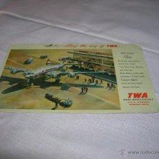 Coleccionismo Billetes de transporte: POSTAL TWA TRANS WOLD AIRLINES. Lote 53027919