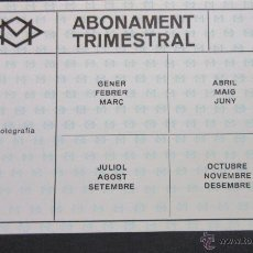 Coleccionismo Billetes de transporte: TARJETA ABONO 4 TRIMESTRES METRO DE BARCELONA MODELO 2. Lote 53126217