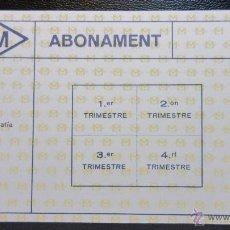 Coleccionismo Billetes de transporte: TARJETA ABONO 4 TRIMESTRES METRO DE BARCELONA MODELO 3. Lote 53126228