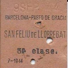 Coleccionismo Billetes de transporte: BILLETE FERROCARRIL EDMONDSON DE LA CIA RENFE DE P DE GRACIA A SAN FELIU DE LLOBREGAT. Lote 53141511