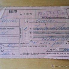 Coleccionismo Billetes de transporte: ANTIGUO BILLETE RENFE MALAGA 1967. Lote 53163920