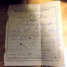 Coleccionismo Billetes de transporte: BILLETE 3ª CLASE, ALBACETE MALAGA Y REGRESO, 1957,. Lote 53242489