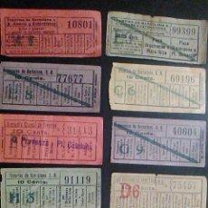 Coleccionismo Billetes de transporte: COMPAÑIA TRANVIAS DE BARCELONA 10 ANTIGUOS BILLETES DE TRANVIA CAPICUA BILLETE TRANSPORTE CAP I CUA. Lote 53382166