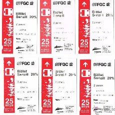 Coleccionismo Billetes de transporte: LOTE DE 10 BILLETES FGC CONMEMORATIVO 25 ANIVERSARIO FGC AÑO 2005. Lote 53401282