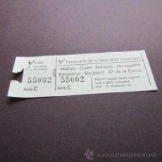 Coleccionismo Billetes de transporte: BILLETE FERROCARRILES GENERALITAT VALENCIA MISLATA - QUART - MANISES - AEROPUERTO - EMPALME - BURJAS. Lote 98484347