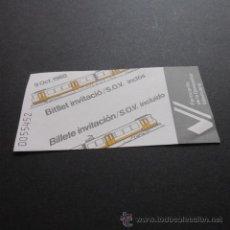 Coleccionismo Billetes de transporte: BILLETE FERROCARRILES GENERALITAT VALENCIA INVITACION 9/10/1988. Lote 175316160