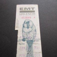 Coleccionismo Billetes de transporte: TARJETA RESISTIVA EMPRESA EMT VALENCIA - COLECCION FAUNA BIGOTUDO . Lote 55712650