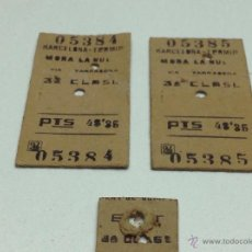 Coleccionismo Billetes de transporte: LOTE DE BILLETES DE TREN BARCELONA - MORA LA NUEVA. Lote 54079012