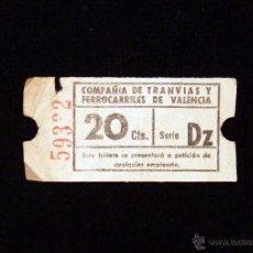 Coleccionismo Billetes de transporte: BILLETE COMPAÑIA DE TRANVIAS Y FERROCARRILES DE VALENCIA. 20 CTS. Lote 54731185