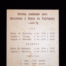 Coleccionismo Billetes de transporte: TRÍPTICO HISPANO-TARGARINA. HORARIO DE AUTOBUSES. AÑOS 30. Lote 54731205