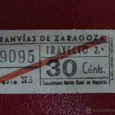 Coleccionismo Billetes de transporte: BILLETE TRANVIA ZARAGOZA CAPICUA. AÑOS 1955,40 CTS. B 2. Lote 54800452