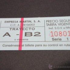 Coleccionismo Billetes de transporte: BILLETE EMPRESA MARTIN MADRID - - TRAYECTO A - B2 - COLOR AZUL BARRADO ROJO . Lote 54884683