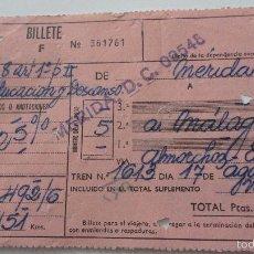 Coleccionismo Billetes de transporte: ANTIGUO BILLETE DE TREN.RENFE.MERIDA-MALAGA.1969. Lote 55386904