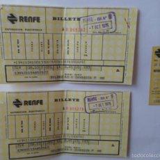 Coleccionismo Billetes de transporte: 3 ANTIGUOS BILLETES DE TREN - AÑOS 1975. Lote 55786598