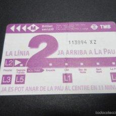 Coleccionismo Billetes de transporte: TARJETA INAUGURAL CONMEMORATIVA LINEA 2 METRO DE BARCELONA . Lote 57092260