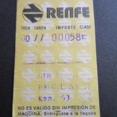 Coleccionismo Billetes de transporte: BILLETE HUGIN RENFE - 1976 - PARADAS BARCELONA . Lote 56045921