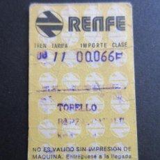 Coleccionismo Billetes de transporte: BILLETE HUGIN RENFE - 1974 - PARADAS TORRELLO PLAZA CATALUÑA. Lote 56046255