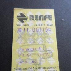 Coleccionismo Billetes de transporte: BILLETE HUGIN RENFE - 1978 - PARADAS MANRESA-4 BARNA SANTS. Lote 56046285