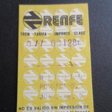 Coleccionismo Billetes de transporte: BILLETE HUGIN RENFE - 1977 - PARADAS RIPOLL MONCADA. Lote 56046705