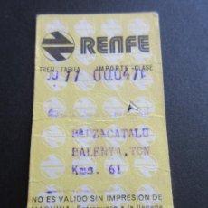 Coleccionismo Billetes de transporte: BILLETE HUGIN RENFE - 1974 - PARADAS PLAZA CATALUÑA BALENYA TON. Lote 56046831