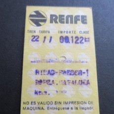 Coleccionismo Billetes de transporte: BILLETE HUGIN RENFE - 1975 - PARADAS RIBAS-FRESER PLAZA CATALUÑA. Lote 56046879