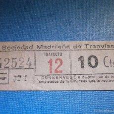 Coleccionismo Billetes de transporte: MADRID BILLETE DE TRANVIA - 10 CÉNTIMOS - TRAYECTO 12 - JTM - SOCIEDAD MADRILEÑA DE TRANVIAS -. Lote 56219433