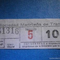 Coleccionismo Billetes de transporte: MADRID BILLETE DE TRANVIA - 10 CÉNTIMOS - TRAYECTO 5 - HIL - SOCIEDAD MADRILEÑA DE TRANVIAS - 61316. Lote 56219435