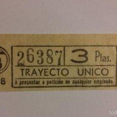 Coleccionismo Billetes de transporte: BILLETE DE TRANSPORTE AUTOBUS O METRO DE 3 PESETAS. Lote 56264981