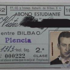 Coleccionismo Billetes de transporte: FF.CC. Y TRANSPORTE SUBURBANO DE BILBAO S.A. ABONO ESTUDIANTE ENTRE BILBAO Y PLENCIA, AÑO 1962.. Lote 56464042