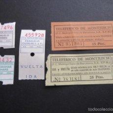 Coleccionismo Billetes de transporte: LOTE 5 ANTIGUOS BILLETES DIFERENTES FUNICULAR Y TELEFERICO DE MONTJUICH. Lote 56530864