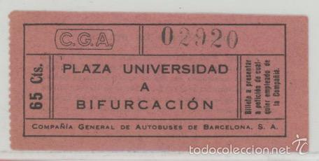 BILLETE DE AUTOBUSES C.G.A. // BARCELONA // 65 CTS // RAREZA R (Coleccionismo - Billetes de Transporte)