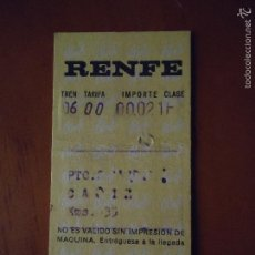 Coleccionismo Billetes de transporte: BILLETE ANTIGUO RENFE 1972 . Lote 56648379