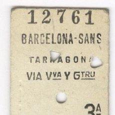 Coleccionismo Billetes de transporte: BARCELONA TARRAGONA AÑO 1969. BILLETE FERROCARRIL. TREN RENFE. Lote 56673685