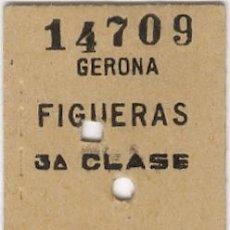Coleccionismo Billetes de transporte: GERONA FIGUERAS AÑO 1969. BILLETE FERROCARRIL. TREN RENFE. Lote 56674074