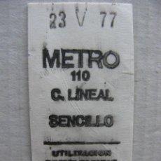 Coleccionismo Billetes de transporte: BILLETE DE METRO (ESTACIÓN CIUDAD LINEAL) MADRID - 23.V.1977 NRO. 25979. Lote 56933220