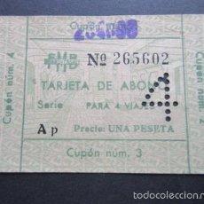 Coleccionismo Billetes de transporte: TARJETA ABONO TRANSVERSAL FERROCARRIL METROPOLITANO BARCELONA 4 VIAJES UNA PESETA. Lote 57439331