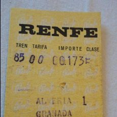 Coleccionismo Billetes de transporte: ANTIGUO BILLETE DE TREN.RENFE.ALMERIA-GRANADA.1973. Lote 57564840