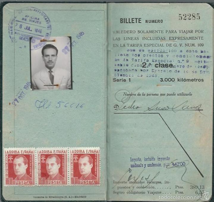 Coleccionismo Billetes de transporte: BILLETE KILOMÉTRICO - Tarifa 109 - 2ª CLASE SERIE 1 - 3000 KILOMETROS DEL 8 - 7 -1946 - Foto 2 - 57712840
