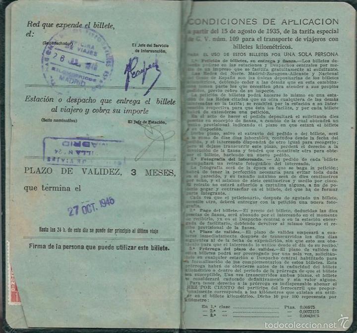 Coleccionismo Billetes de transporte: BILLETE KILOMÉTRICO - Tarifa 109 - 2ª CLASE SERIE 1 - 3000 KILOMETROS DEL 8 - 7 -1946 - Foto 3 - 57712840