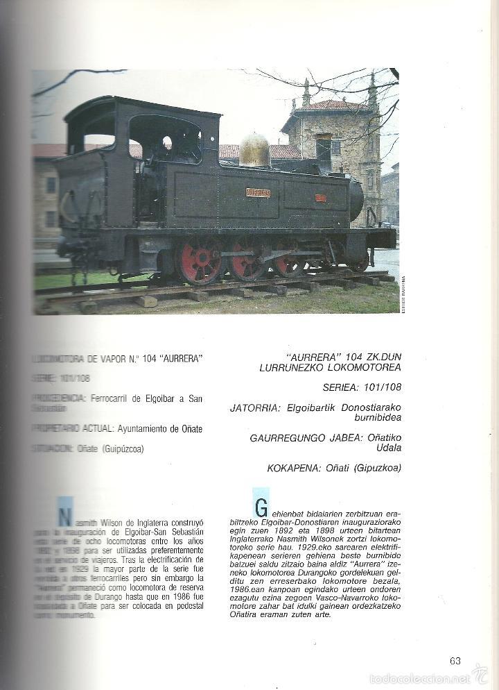 Coleccionismo Billetes de transporte: Patrimonio Ferroviario en Euzkadi.Año 1990.Buena conservacion.Español y euskera - Foto 4 - 57903403