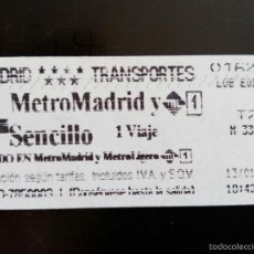 Coleccionismo Billetes de transporte: BILLETE METRO MADRID. Lote 57912143
