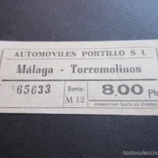 Coleccionismo Billetes de transporte: BILLETE EMPRESA AUTOMOVILES PORTILLO MALAGA TORREMOLINOS. Lote 57938762