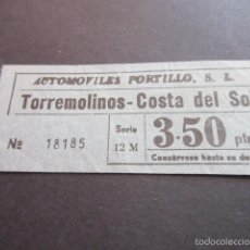Coleccionismo Billetes de transporte: BILLETE EMPRESA AUTOMOVILES PORTILLO TORREMOLINOS COSTA DEL SOL MALAGA. Lote 57938769