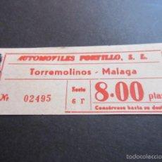 Coleccionismo Billetes de transporte: BILLETE EMPRESA AUTOMOVILES PORTILLO TORREMOLINOS MALAGA. Lote 57938774